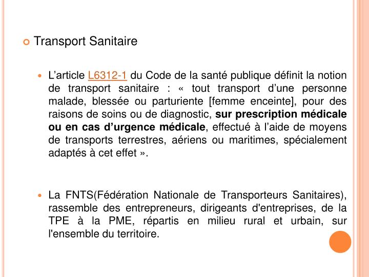 Transport Sanitaire