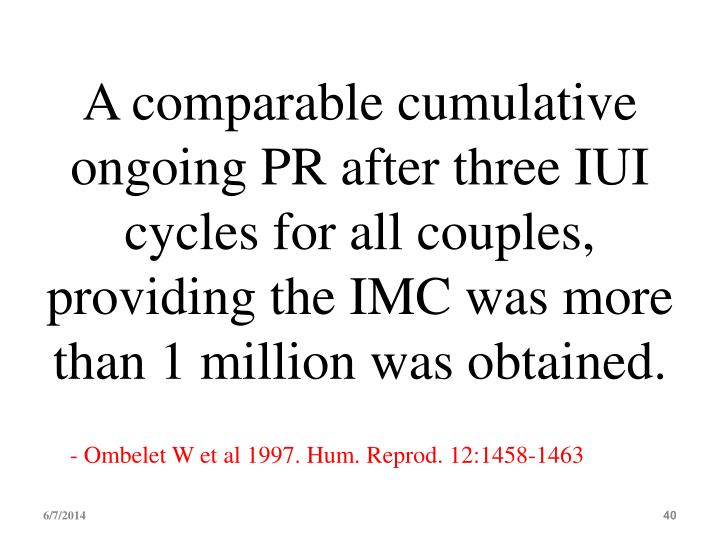 A comparable cumulative ongoing PR after three IUI cycles for all couples, providing the IMC was more than 1 million was obtained.