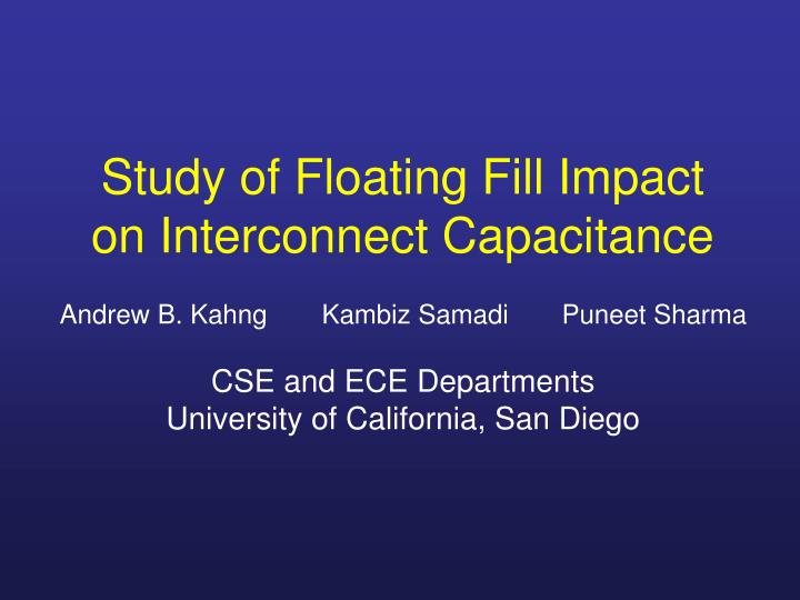 Study of floating fill impact on interconnect capacitance