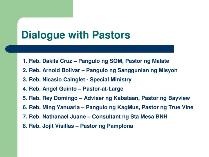 Dialogue with Pastors