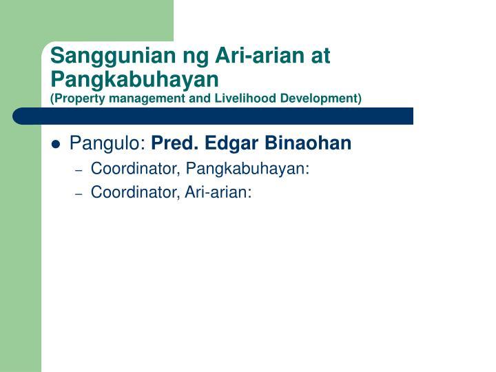 Sanggunian ng Ari-arian at Pangkabuhayan