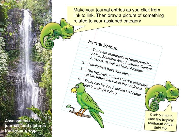 Make your journal entries as you click from link to link. Then draw a picture of something related t...