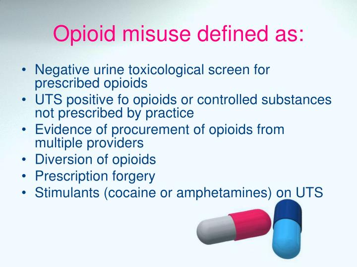 Opioid misuse defined as: