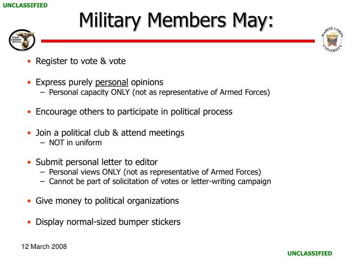 Military Members May: