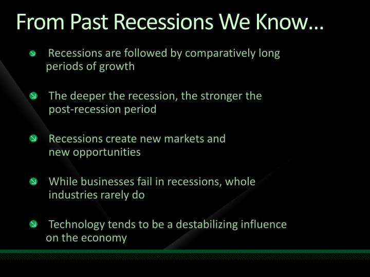 From Past Recessions We Know…