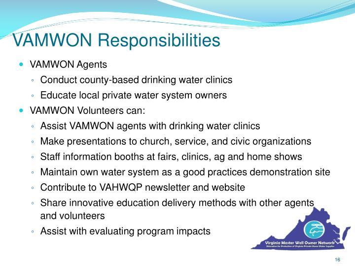 VAMWON Responsibilities
