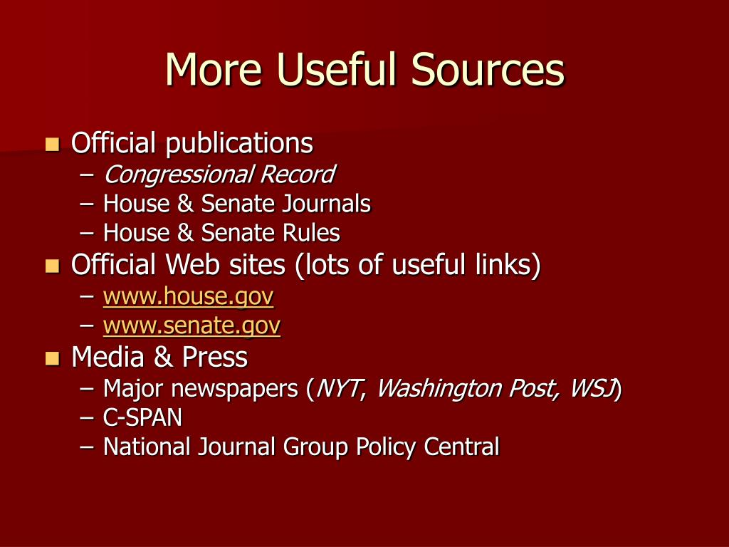 More Useful Sources