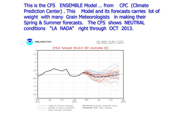 "This is the CFS   ENSEMBLE Model … from    CPC  (Climate Prediction Center) . This    Model and its forecasts carries  lot of weight  with many  Grain Meteorologists   in making their  Spring & Summer forecasts.   The CFS  shows  NEUTRAL  conditions   ""LA  NADA""   right through  OCT  2013."