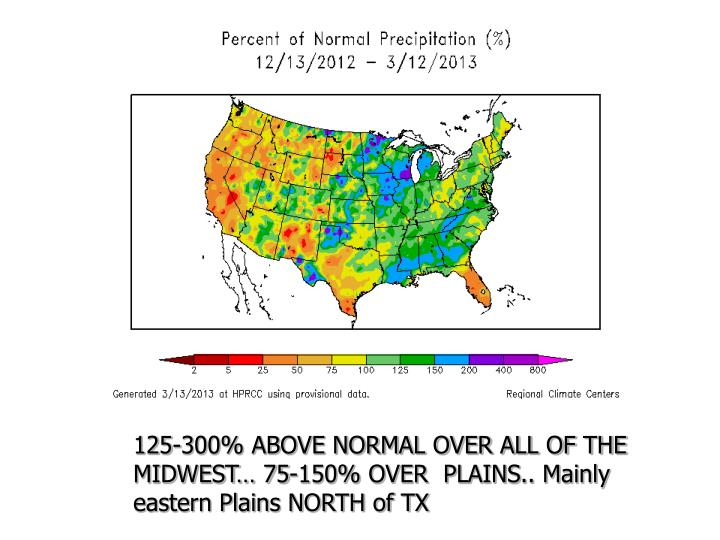 125-300% ABOVE NORMAL OVER ALL OF THE MIDWEST… 75-150% OVER  PLAINS.. Mainly  eastern Plains NORTH...