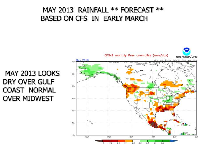 MAY 2013  RAINFALL ** FORECAST **  BASED ON CFS  IN  EARLY MARCH