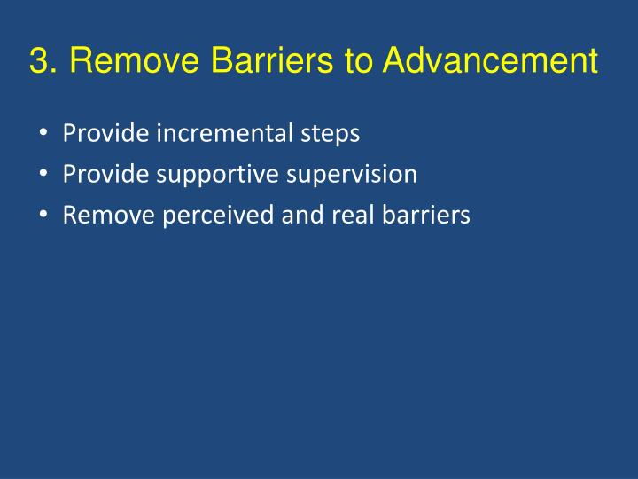 3. Remove Barriers to Advancement