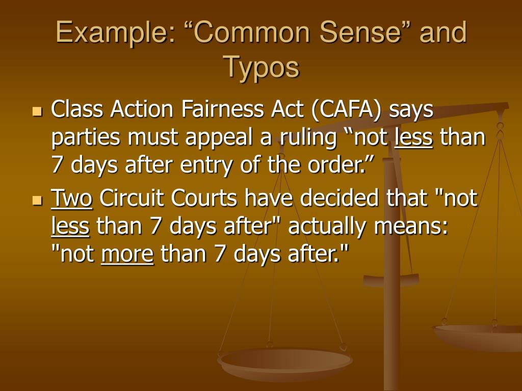 "Example: ""Common Sense"" and Typos"