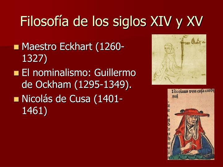 Filosofía de los siglos XIV y XV