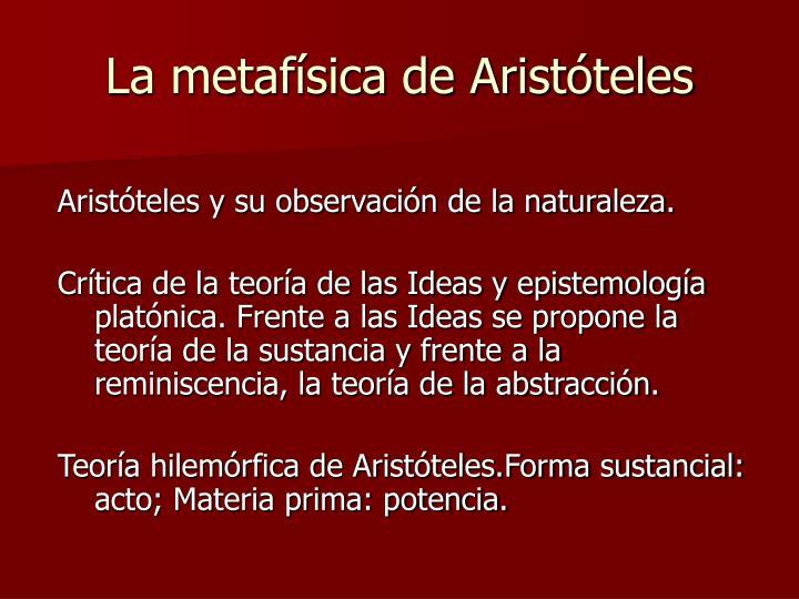 La metafísica de Aristóteles
