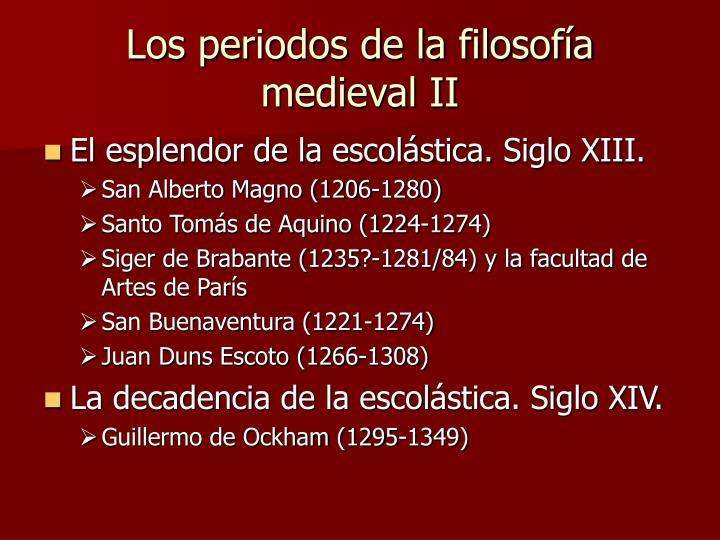 Los periodos de la filosofía medieval II