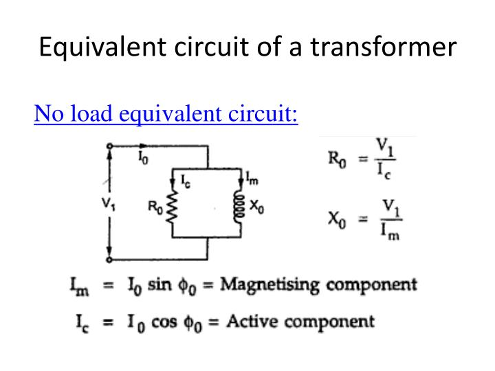 Equivalent circuit of a transformer