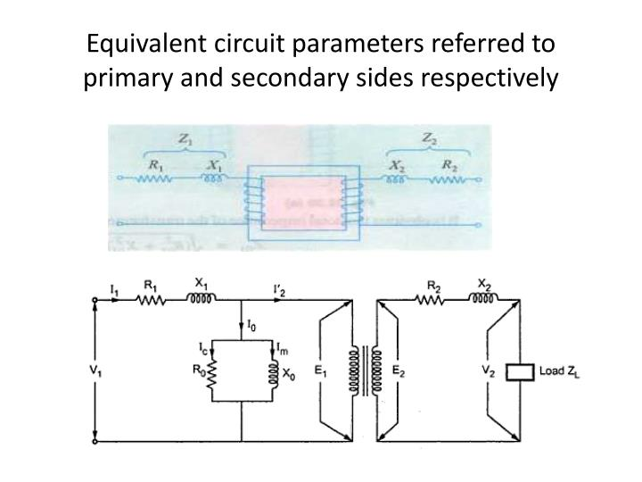 Equivalent circuit parameters referred to primary and secondary sides respectively