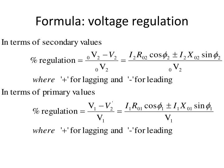 Formula: voltage regulation