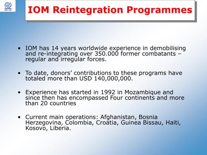IOM Reintegration Programmes