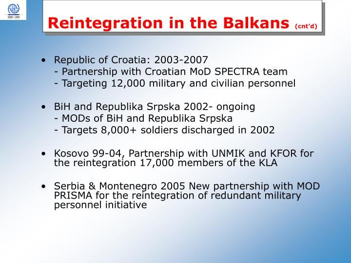 Reintegration in the Balkans