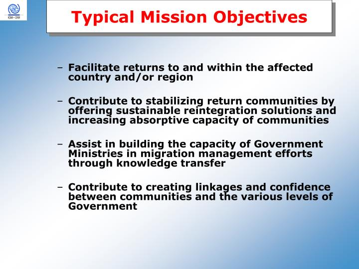 Typical Mission Objectives