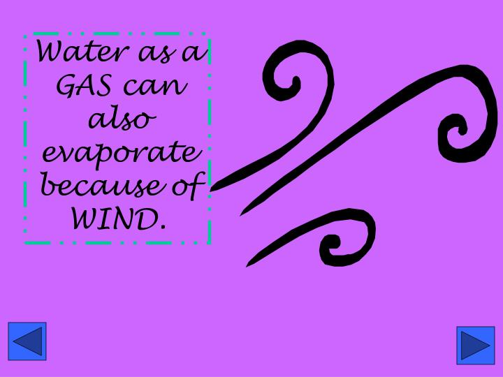 Water as a GAS can also evaporate because of WIND.