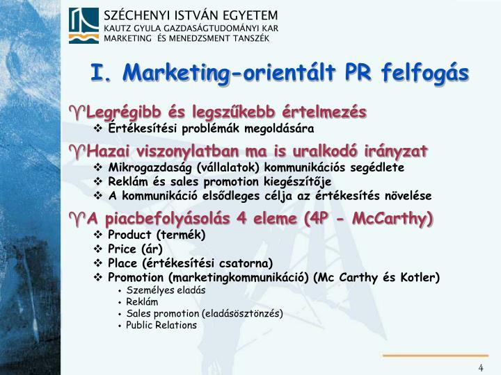 I. Marketing-orientált PR felfogás
