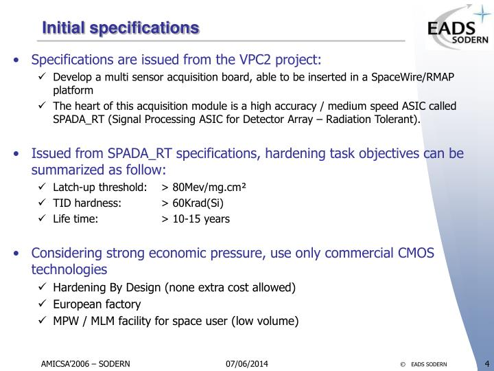 Initial specifications