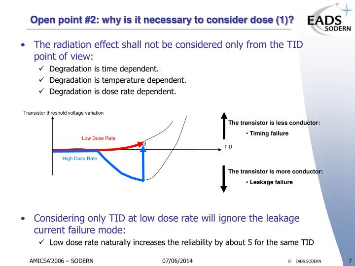 Open point #2: why is it necessary to consider dose (1)?