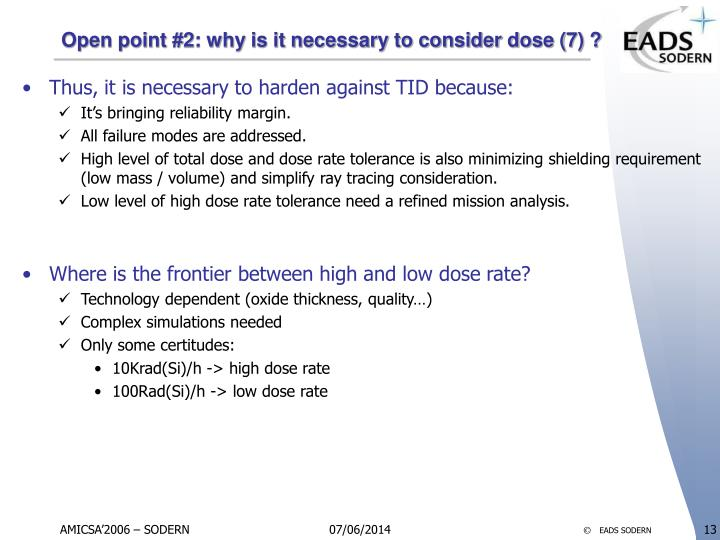 Open point #2: why is it necessary to consider dose (7) ?