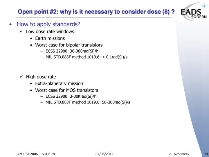 Open point #2: why is it necessary to consider dose (8) ?
