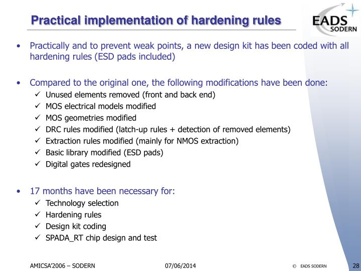 Practical implementation of hardening rules