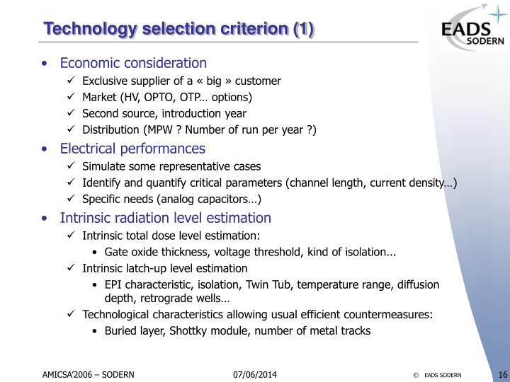 Technology selection criterion (1)