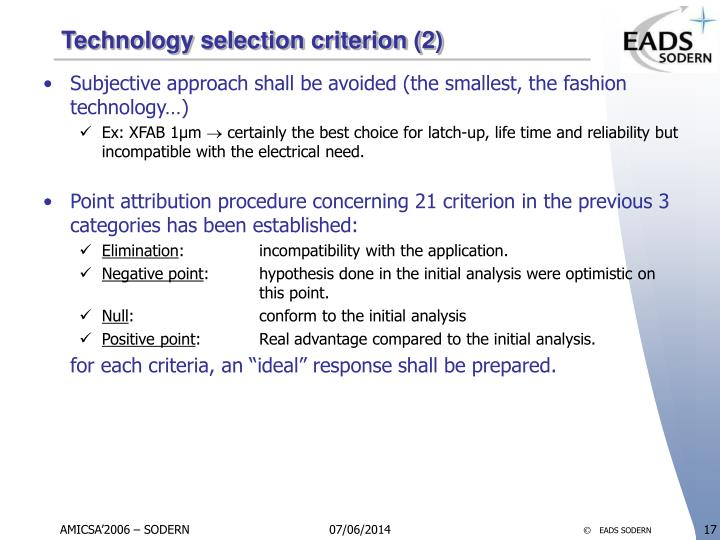 Technology selection criterion (2)