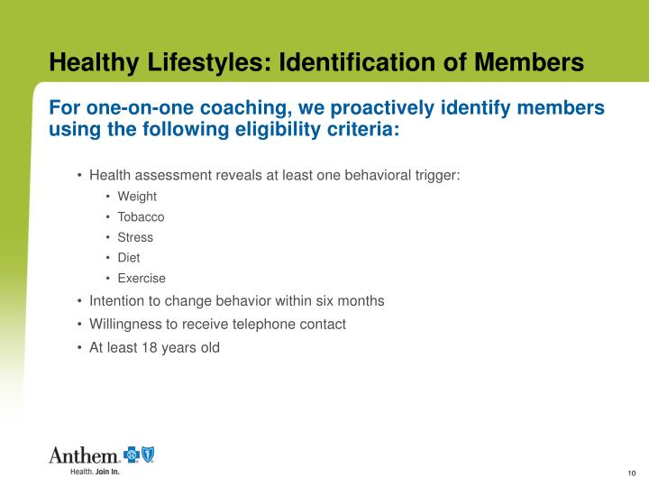 Healthy Lifestyles: Identification of Members