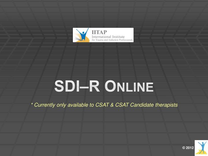 SDI–R Online