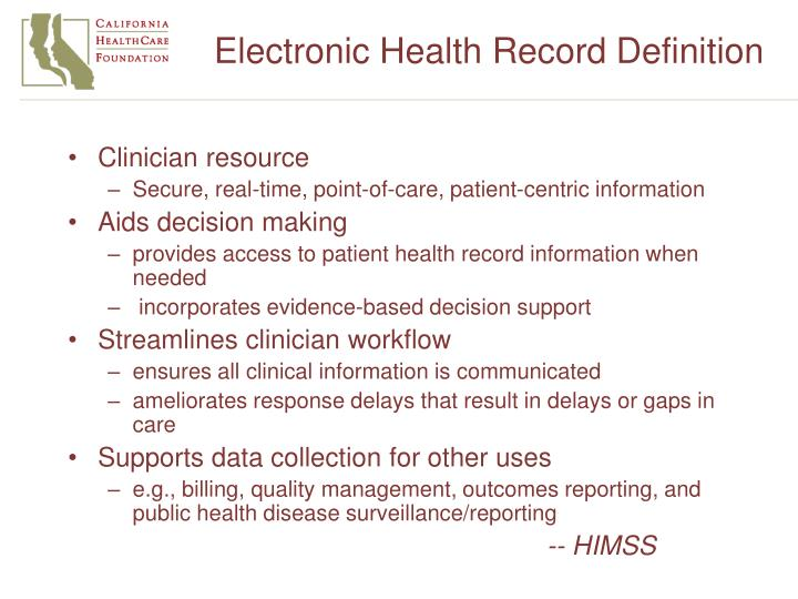 Electronic Health Record Definition
