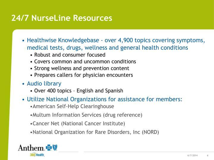 24/7 NurseLine Resources