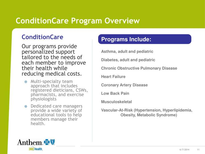 ConditionCare Program Overview