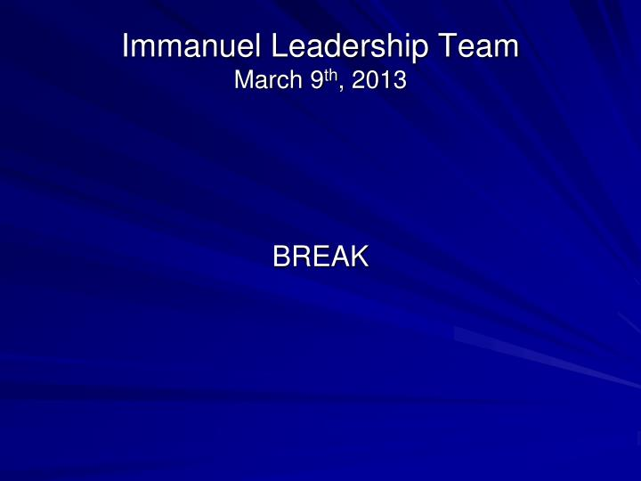 Immanuel Leadership Team