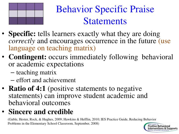 Behavior Specific Praise Statements