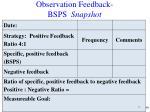 observation feedback bsps snapshot