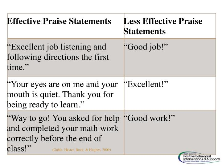 Effective Praise Statements
