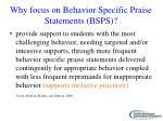 why focus on behavior specific praise statements bsps