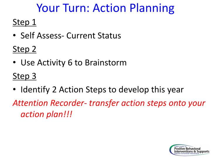 Your Turn: Action Planning