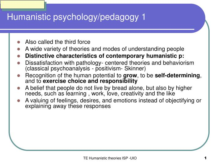 Humanistic psychology pedagogy 1