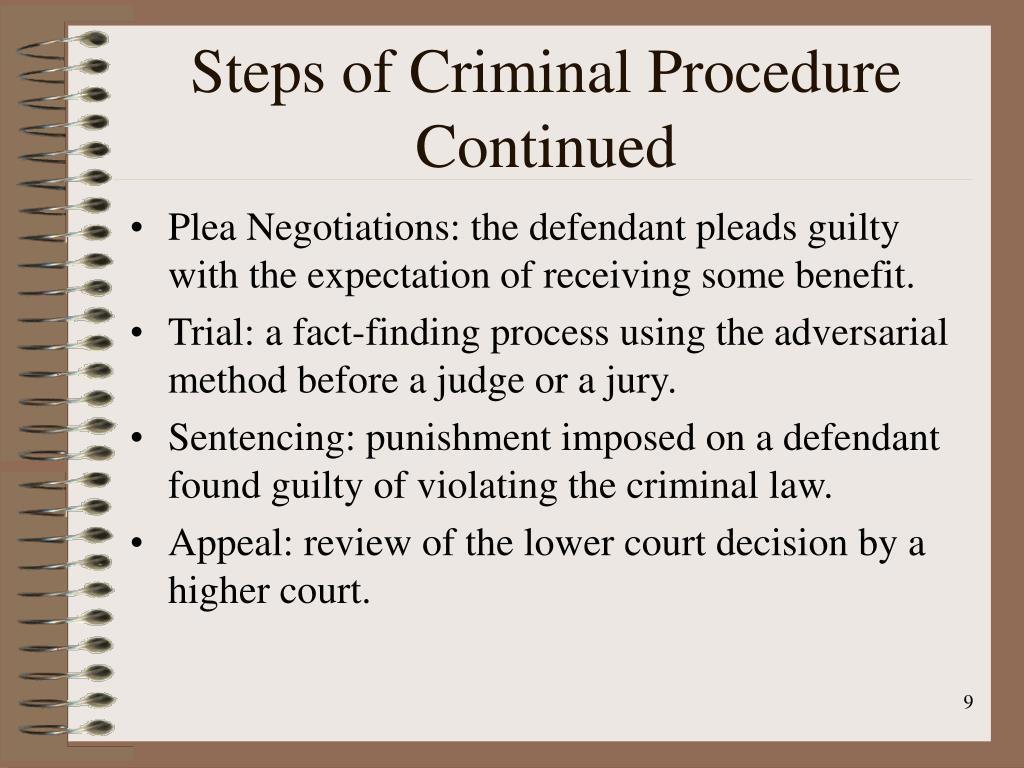 Steps of Criminal Procedure Continued