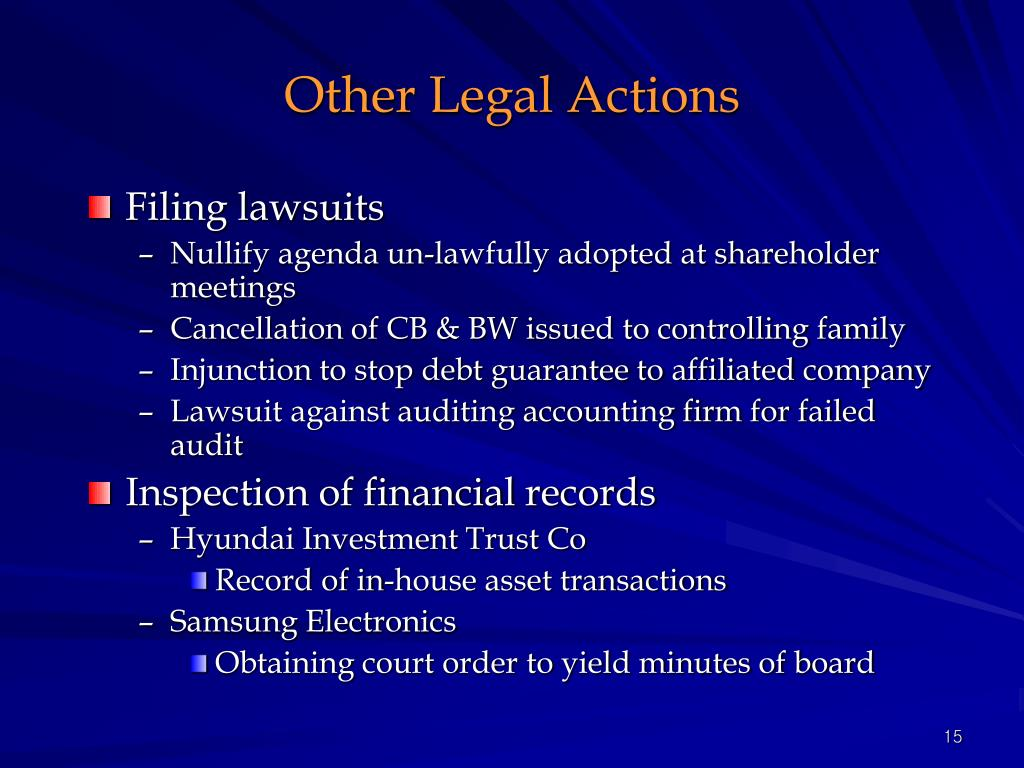 Other Legal Actions