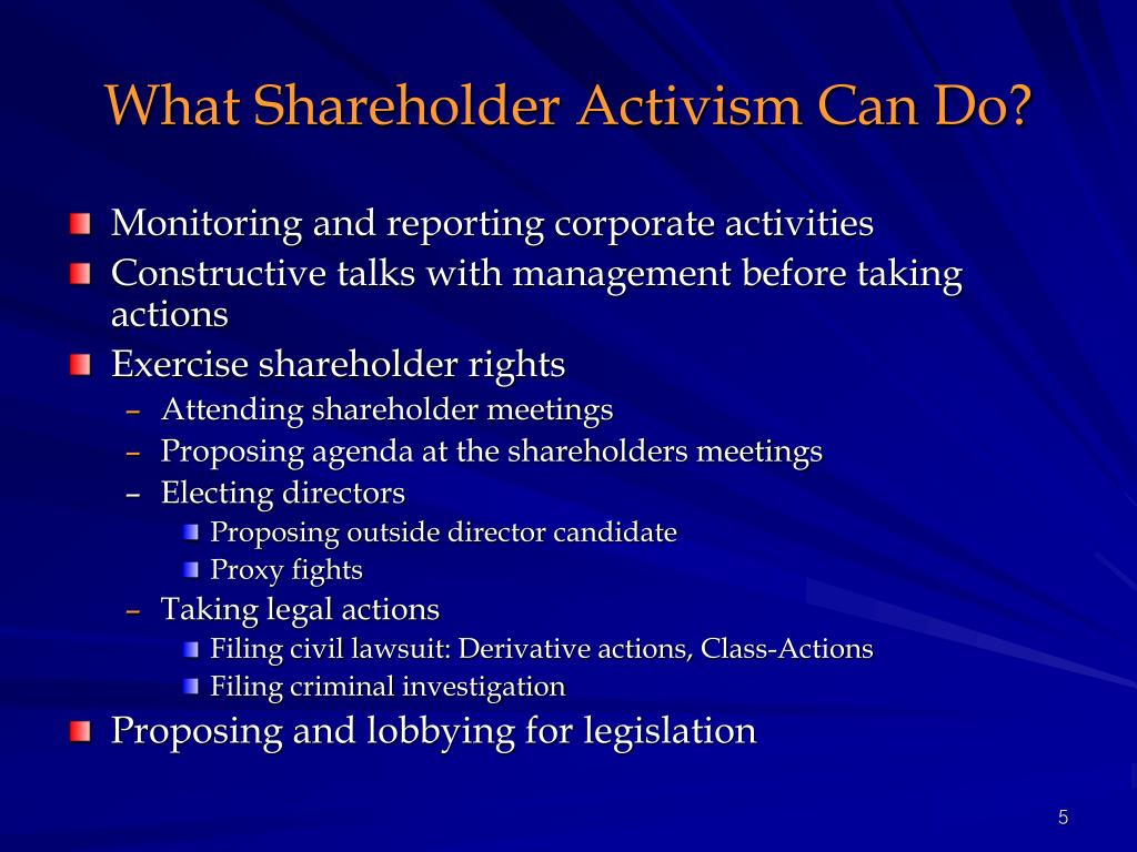 What Shareholder Activism Can Do?