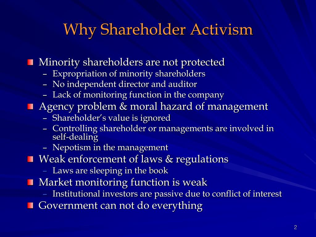 Why Shareholder Activism